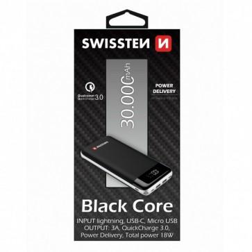 Swissten Powerbank Black Core - 30.000 mAh - Zwart